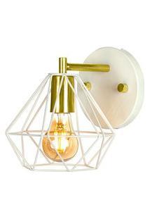 Arandela Luminária Diamante Aramado Branco Com Dourado