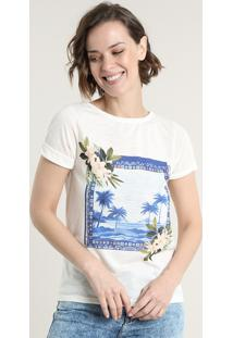 Blusa Feminina Com Estampa Tropical Manga Curta Decote Redondo Off White