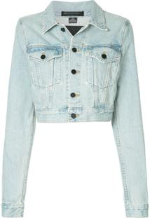 T By Alexander Wang Jaqueta Jeans Cropped - Azul