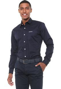 Camisa Mr Kitsch Reta Lisa Azul-Marinho