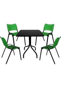 Jogo De Mesa Fixa 70 Por 70 Tampo Preto 4 Cadeiras Verde Plástico