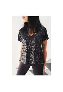 T-Shirt Joulik Decote V Bordada Luna - Preto