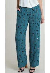 Calça Feminina Pantalona Cintura Alta Estampada Azul Petróleo