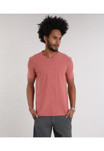 Camiseta Masculina Com Botões Manga Curta Gola V Coral