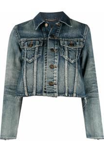 Saint Laurent Jaqueta Jeans Com Acabamento Desfiado - Azul
