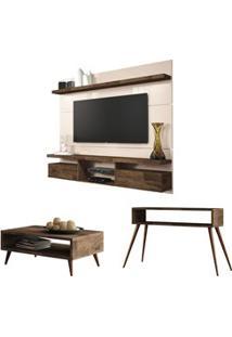 Painel Tv Livin 1.8 Com Mesa De Centro Lucy E Aparador Quad Deck/Off W