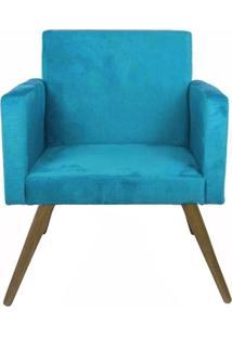 Poltrona Decorativa Pés Palito Nina Suede Azul - Ds Móveis - Kanui