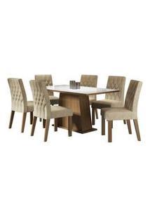 Conjunto Sala De Jantar Madesa Rafaela Mesa Tampo De Vidro Com 6 Cadeiras Rustic/Branco/Imperial Rustic/Branco/Imperial