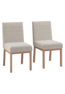 Conjunto 2 Cadeiras Estofadas Para Sala Jantar Volttoni Sofia Natural