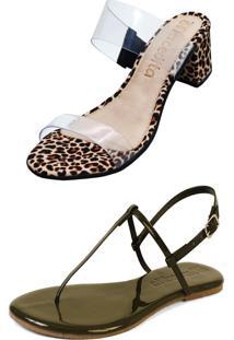 Kit Sandália Tamanco Salto E Rasteira Mercedita Shoes Cristal Com Onça E Verniz Verde Militar - Kanui