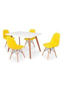 Conjunto Mesa De Jantar Gih 120X80Cm Branca Com 4 Cadeiras Botonê - Amarelo