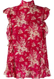 Red Valentino Floral-Print Sleeveless Blouse - Vermelho