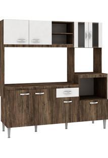 Cozinha Compacta Tati 8 Portas Com Tampo Naturalle/Branco - Fellicci