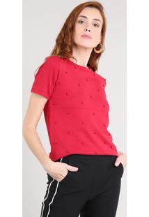Blusa Feminina Em Tricô Com Pérolas Manga Curta Decote Redondo Vermelha