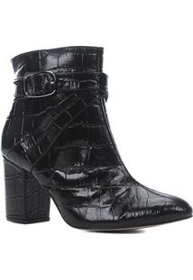 Bota Couro Shoestock Croco Cano Curto Feminina - Feminino-Preto