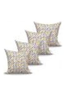 Conjunto De Capas Para Almofada Com 4 Peças Triângulo Cinza E Amarelo 60X60 Cm