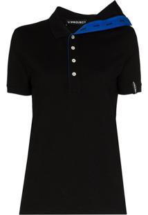 Y/Project Camisa Polo Assimétrica De Algodão - Preto
