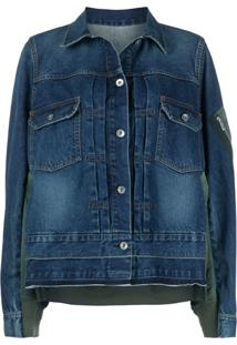 Sacai Contrast Panel Denim Jacket - Azul