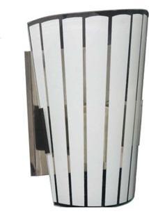 Arandela Paulistinha De Inox Com Vidro Fosco E Borda Transparente Joanto