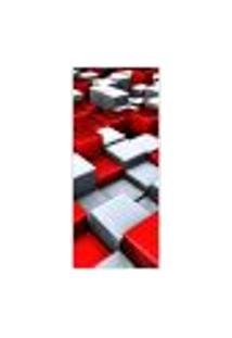 Adesivo Decorativo De Porta - Quadrados Tridimensionais - 020Pt-P Auto Colante