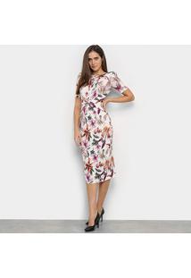 Vestido Lança Perfume Super Midi Fenda Estampado - Feminino-Floral