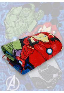Cobertor Solteiro Lepper Avengers Dupla Face Azul 1,55 X 2,20