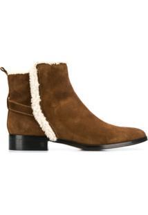 Parallèle Ankle Boot Com Pele De Carneiro - Marrom