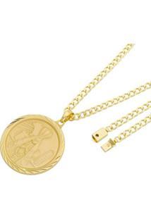 Pingente Nossa Senhora Com Corrente Grumet Fecho Gaveta Tudo Joias Folheado A Ouro 18K - Masculino-Dourado