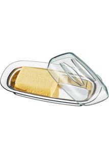 Manteigueira Com Tampa Lyon Prateado E Transparente
