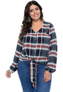 Camisa Cosma Plus Size Xadrez Com Amarração Azul