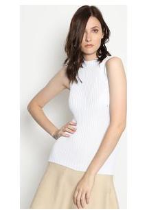 Ponto Aguiar Blusa Tricã´ Gola Alta Branca