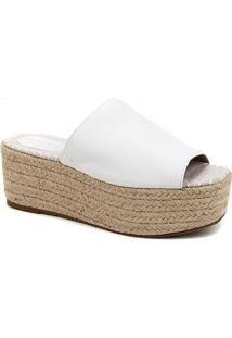 Tamanco Couro Shoestock Flatform Corda - Feminino-Branco