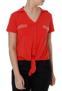 Camisa Manga Curta Feminina Autentique Vermelho