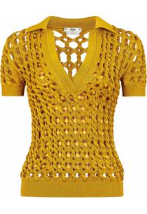 Fendi Blusa Polo De Tricô - Amarelo