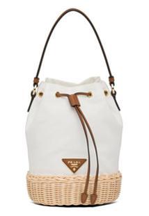 Prada Bolsa Bucket Pequena Com Logo - Branco