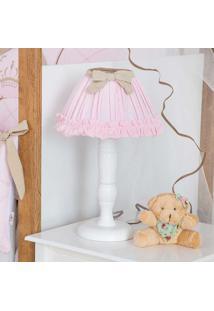 Abajur Urso Coroa Real - Maria Lua Baby - Branco / Rosa / Caqui