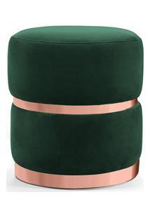 Puff Decorativo Com Cinto E Aro Rosê Round B-303 Veludo Verde Musgo -