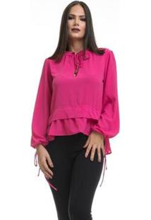 Camisa Clara Arruda Decote Laço Feminina - Feminino-Rosa