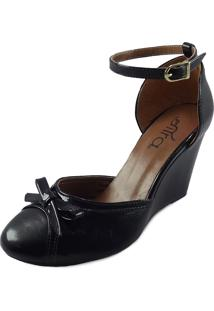 Sapato Feminino Boneca Anabela Preto