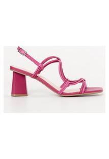 Amaro Feminino Sandália Minimal Multi Tiras Tubulares, Rosa Pink