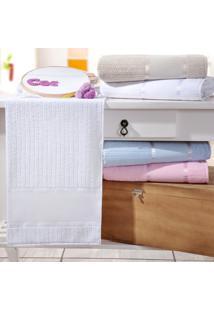 Toalha Rosto Ponto Russo Branca - Kit Com 4 Unidades