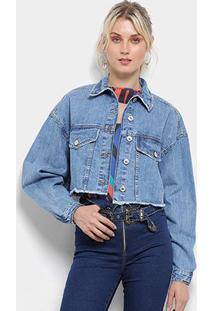 Jaqueta Jeans Lez A Lez Cropped Retrô Feminina - Feminino-Azul