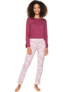 Pijama Censato Floral Rosa