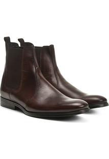 Bota Couro Chelsea Shoestock Bico Redondo Masculina - Masculino-Café