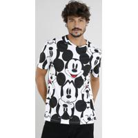 72669672c Camiseta Masculina Mickey Estampada Manga Curta Gola Careca Off White