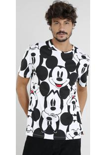 Camiseta Masculina Mickey Estampada Manga Curta Gola Careca Off White