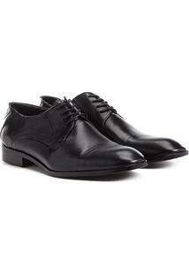 Sapato Social Couro Shoestock Amarração Bico Redondo - Masculino