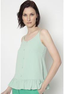 Blusa Texturizada Com Babados- Verde Claro- Linho Filinho Fino