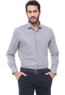 Camisa Aramis Reta Micro Xadrez Cinza/Bege