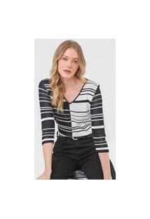 Blusa Tricot Calvin Klein Listrada Preta